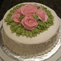 "Wilton Bc Roses Cake- Course I Final This was my ""graduation"" cake from the Wilton Course I class where I learned how to make buttercream roses. I took this cake to..."