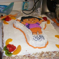 "Dora 16"" tres'leche bottom with dora the explora top"