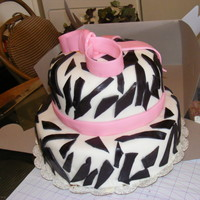 "Zebra Print zebra print with pink bow . 12""bottom with 9""contour top"