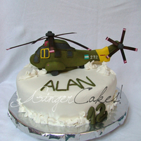 Helicopter In The Ice The entire helicopter was made of sugar paste. The cake was a vainilla sponge with ganache and cream