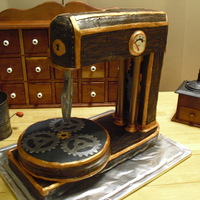 Steampunk Stand Mixer Tri-Chocolate Cake with White Chocolate Buttercream Icing and Chocolate fondant.