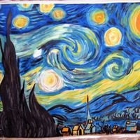 Hand Painted / Starry Night/ Van Gogh I hand painted this on a piece of fondant with added gum tex. Put on a 9x13 sheet cake. I love painting on cake!