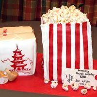 Popcorn Bag Chinese Food Box These cakes are made form a sheet cake I just cut in small rectangles and stacked, covered in marshamallow fondant. Popcorn is also...