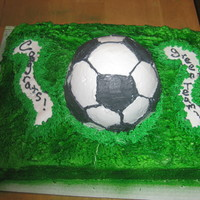 Soccer Cake round cake hand drawn to look like a soccer ball .that was a pain to get those lines right