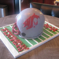 Wsu Birthday Cake 2 - 9inch rounds with a pyrex bowl covered in fondant. Used the tutorial here on cc to help me figure out how to do this and LOTS of...