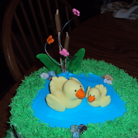 Duck And Pond Themed Baby Shower Cake