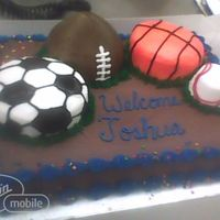 "Mutliple 3D Sports Balls On 1/2 Sheet These sports balls were made of 5"" rounds and cupcakes on a half sheet cake. Completely buttercream."