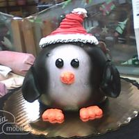 Penguin Cake With Santa Hat