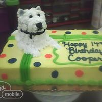 Westie Dog On Birthday Present This is made of 3 cupcakes stacked on top of a 1/4 sheet cake