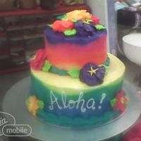 "Hawaiian Theme Tiered Cake   This is a double layer 5"" round on top of a double layer 8"" round, iced and decorated completely in buttercream."