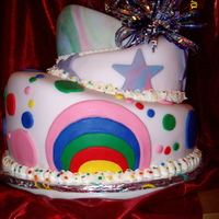 Birthday Cake, With Strawberry Filling rainbow