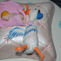 Stork And Baby HOLLY'S BABYSHOWER CAKE. White cake cream cheese frosting.