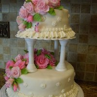 Fondant Roses Tiered Cake a duplicate from Wilton's Lesson #4.