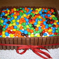 Fun Birthday Cake it was frosted and kit kats covered the entire outside of this cake and filled with peanut m&ms !!