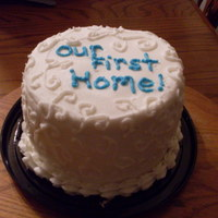 "Our First Home Cake 6"" cake with white stencil work!"
