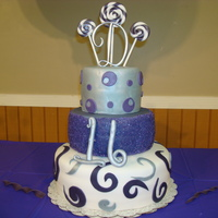 Dominiques Sweet Sixteen Cake This was for a candy land themed party...However they only wanted purple silver and white on the cake. I wanted to put more colors. I'...