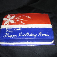 Ami's Cake   Colors aren't so true...It's purple and terra cotta. Really. Not my choice!