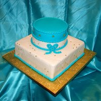 Teal & White Birthday Cake