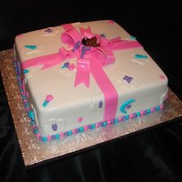 Pink, Teal, & Purple Baby Shower Cake