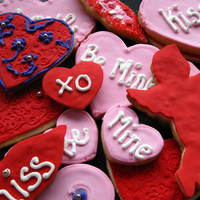 Valentines Cookies   Sugar cookies topped with royal icing & fondant