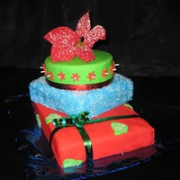 Stack Of Christmas Gifts Stack of gifts cake I made for my Christmas party at work.