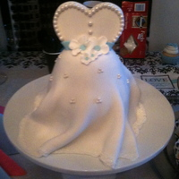 Bridal Shower Dress Cake 6 inch stacked and carved cake, fondant covered with fondant accents