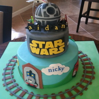 Star Wars & Thomas The Train Cake Two birthdays for two little boys, one Star Wars lover and one Thomas the Train lover, RKT Death Star and gum paste X Wing Fighters