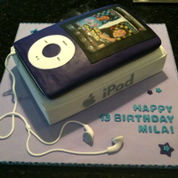Purple Ipod Birthday Cake All cake, printed New Boyz image on rice paper