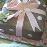 Angel Present Cake marble cake w/ chocolate buttercream. angel was fondant.