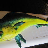 Dorado Fish, Or Mahi Mahi This three foot long Dorado fish was carved and covered in fondant and hand painted to create this realistic representation. No fish guts...