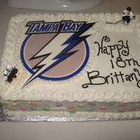 Tampa Bay Lightning Cake Edible image on bc frosted marble cake with Bavarian cream filling. Figures are plastic.