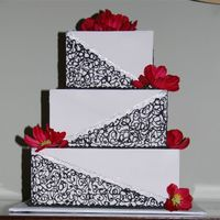 Square Modern Cake   This is a cake made for a wedding expo I was in. Thanks for looking :-)