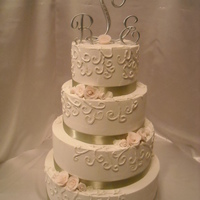 Traditional Rose Wedding Cake   BC, with scroll design, handmade fondant roses....thanks for looking!