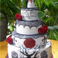 Spanish Day Of The Dead Inspired Wedding Cake The design was 100% from the bride and groom....there are 3 other trees and two more owls that complete the bottom tier design...the...