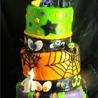 Witch Halloween Cakes   Halloween birthday cake....all edible..except wires and seperators...characters from gumpaste