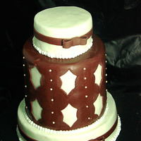 Burgundy White Cake sample wedding cake...