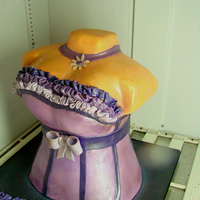 Corset Bridal Shower Cake entire bodice is chocolate cake with banana filling...covered with fondant and decorated with gumpaste...tfl