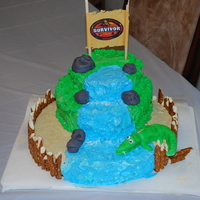 "Survivor Birthday I made this cake for my sons ""survivor"" themed birthday. The sand is colored granulated sugar, the alligator is fondant (my first..."