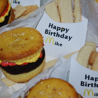 Mikes Bday Burger Cupcakes Brownie for the burger, buttercream ketchup and mustard. Bakerella inspired!