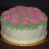 Poinsettias Buttercream with royal icing poinsettias