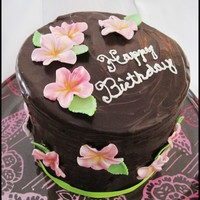 Chocolate Ganache Covered Birthday Cake  I did a tall 6 inch round cake with layers of vanilla and chocolate cake. Between them I put strawberry swiss meringue buttercream and...