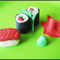Simple Sushi First time trying to make some sushi cupcake toppers with fondant... I think they came out pretty well! :)