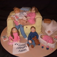 Family Cake This is my best friends' family all together, I did this cake for her husbands' 40th birthday celebration.
