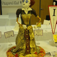 Red Queen All cake with modelling chocolate head and shoulders. Fondant draping, hand painting, and airbrushing.