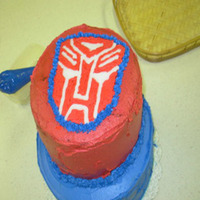 Transformer/autobot Cake This is the cake for my son's 4th birthday. It is the first FBCT that I made. The cake is chocolate with a chocolate buttercream...