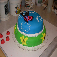 Butterfly Cake Cake made for daughter's first birthday...first time torting and filling a cake, stacking a cake, and using fondant.