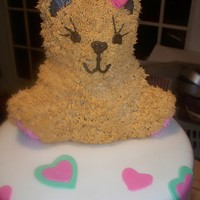 Dana's Shower Cake Used Bear pan for top first time that I have had a little trouble with the face. Tried to match it to a picture online of the decortions...