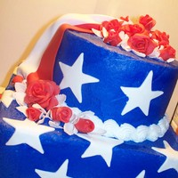 Red, White And Blue Birthday Cake For my mom her Birthday is on the 4th!