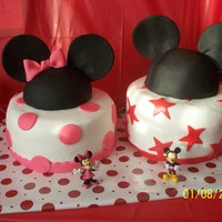 Mickey And Mini Cake THANKS to all wonderful Ideas on here! this cake was for my daughter and nephew. The mini one was strawberry and the Mickey was marble! I...