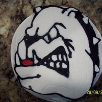 Go Dawgs!! Buttercream and almond cake.small cake made for grandson whose a fan of Georgia Bulldogs.